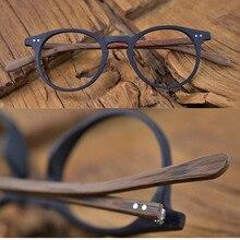 60s VINTAGE ไม้สีน้ำตาลรูปไข่สีดำกรอบแว่นตา Full RIM Hand Made แว่นตาผู้ชายผู้หญิงสายตาสั้น RX สามารถยี่ห้อใหม่
