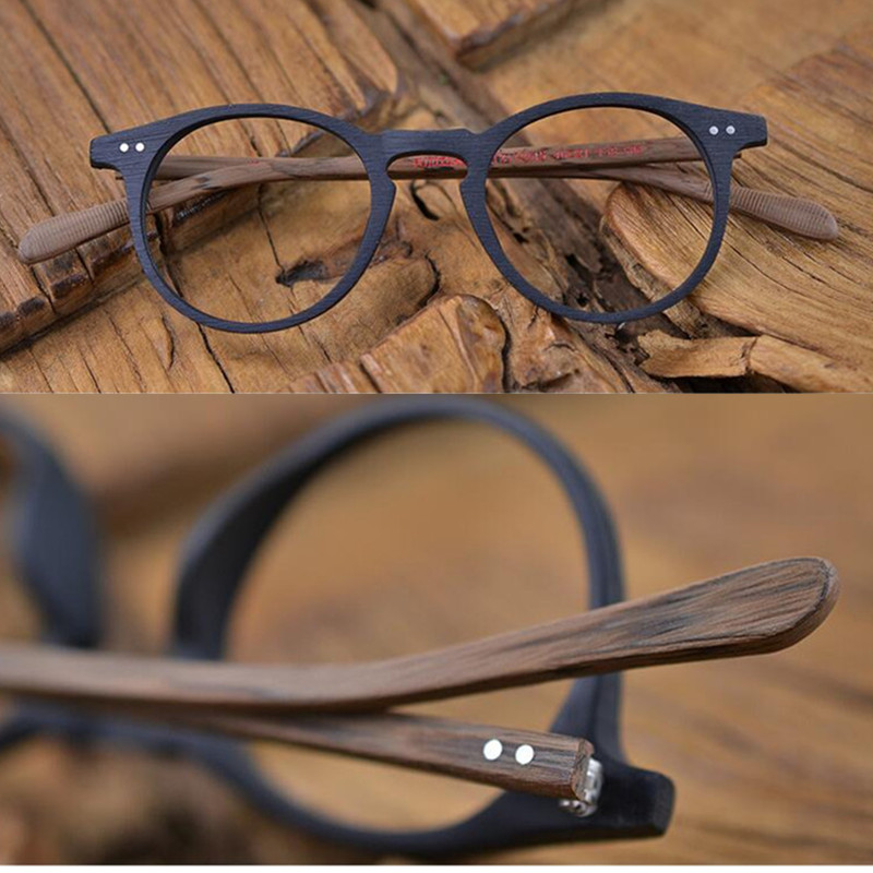 60's Vintage Wood Brown Oval Eyeglass Frames Full Rim Hand Made Glasses Spectacles Men Women Myopia Rx able Brand New