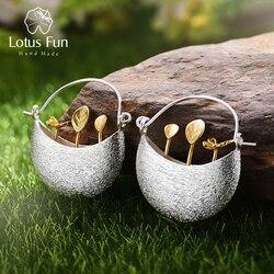 Lotus Fun Plata de Ley 925 auténtica pendientes naturales creativos hechos a mano joyería fina pendientes de gota de Mi pequeño jardín para regalo de mujer