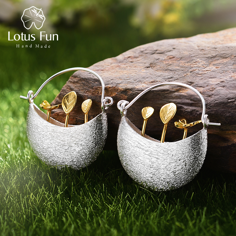 Lotus Fun Real 925 Sterling Silver Naturliga Kreativa Handgjorda Smycken Min Lilla Garden Drop Earrings för kvinnor Brincos