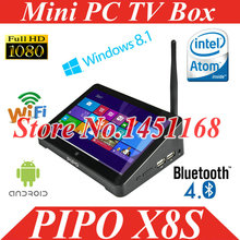 "Pipo X8 X8S Mini PC Tv Box Windows 8.1 & Android 4.4  Quad Core Dual Boot Intel Z3735F Quad Core Mini PC 7""Tablet Mini PC TV Box"
