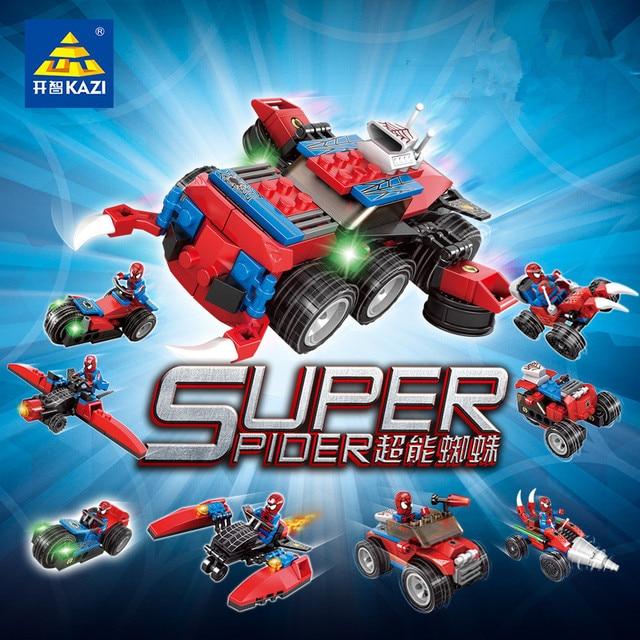 4IN1 Spiderman Car Blocos Define Figuras de Super Heróis de Guerra Cidade Bricks DIY Brinquedos Educativos para Crianças