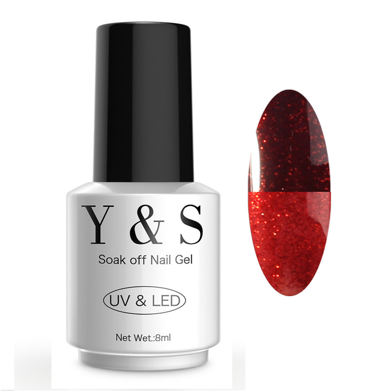 Y&S 8ml Chameleon Gel Nail Polish Glitter Soak Off UV Gel Temperature Changing Color Gel Polish Long Lasting Nail Gel Varnish