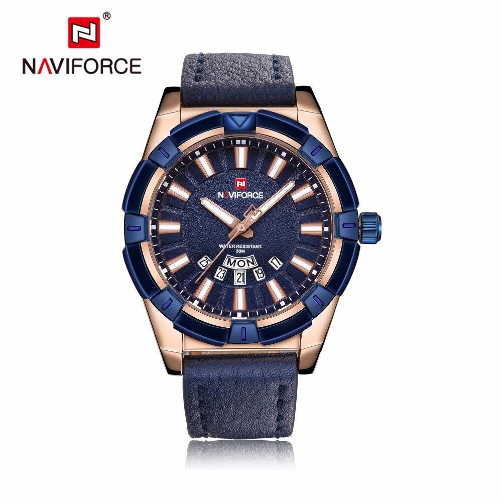 NAVIFORCE Men's Casual Sport Quartz Watch Mens Watches Quartz-Watch Blue Leather Strap Military Wristwatch Male Clock 9118 цена и фото