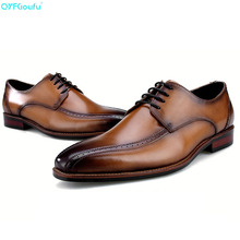 2019 New Handmade Designer Fashion formal shoes Luxury Wedding oxford shoes for men Genuine Leather Men Dress Shoes цена в Москве и Питере