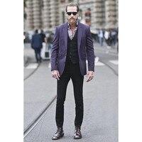 Latest Designs Purple Men Suit Custom Fashion Suits Sets Elegant Party Tuxedos Men S Daily Work