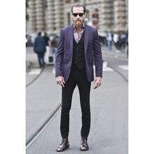 Последние конструкции фиолетовый мужской костюм пользовательские модные костюмы Наборы элегантные вечерние Смокинги Для мужчин Ежедневно Повседневная обувь костюм (куртка + брюки + жилет)