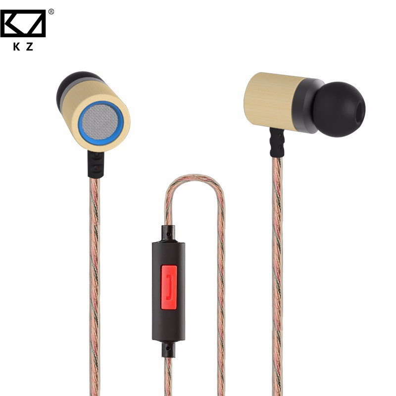 KZ ED7 HiFi Dynamic Earphone 3.5mm HD Bass Stereo Monitor Bamboo Wood In Ear Earbuds With Microphone For Smartphone PC Earphones kz ed7 bamboo wood in ear bass stereo earbuds with mic gold