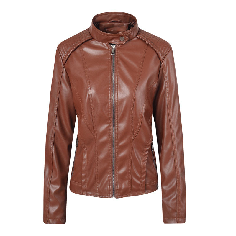 2019 Autumn Women Slim Pu   Leather   Jacket Motorcycle Bike Jacket Club Casual Coat