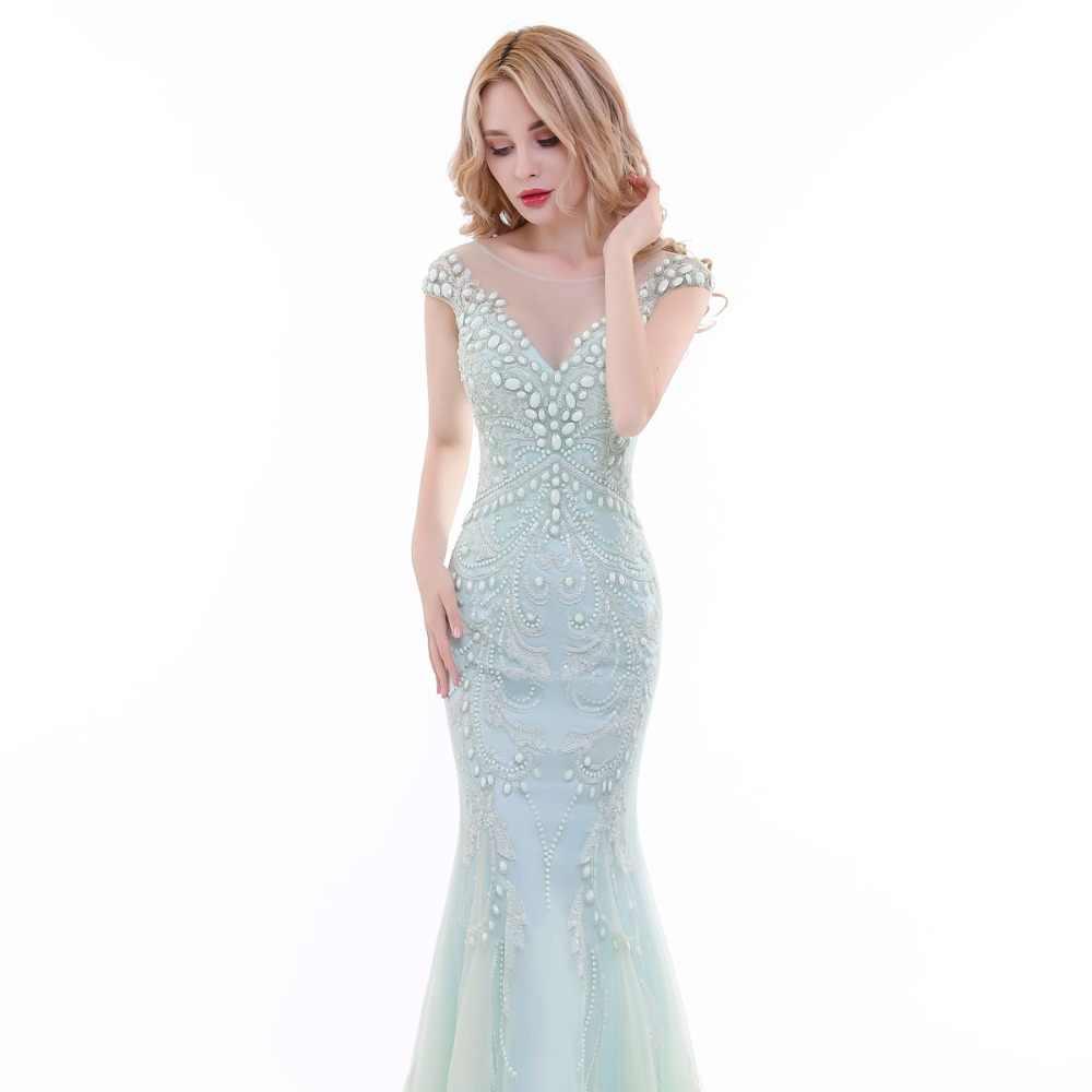 03942e7ed8a2 ... Finove 2019 New Evening Dress Long Elegant Chiffon Light Green Crystals  Beading Sleeveless Mermaid Style Formal ...