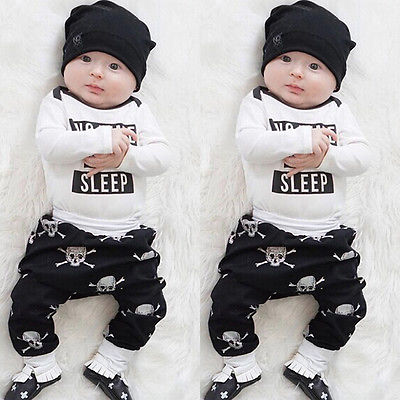 Newborn Kids Baby Girls Boys Clothes Tops Rompers Skull Pants Outfits Set 0-18M 3pcs set newborn baby boys girls clothes set tops rompers cotton pants leggings hat outfits clothing baby boy 0 18m