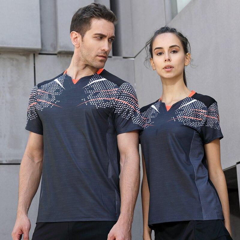 2018 Running Sport Summer Outdoor Quick Dry Gray Breathable Badminton Shirt Women Men Table Tennis Team Game Custom T-Shirts