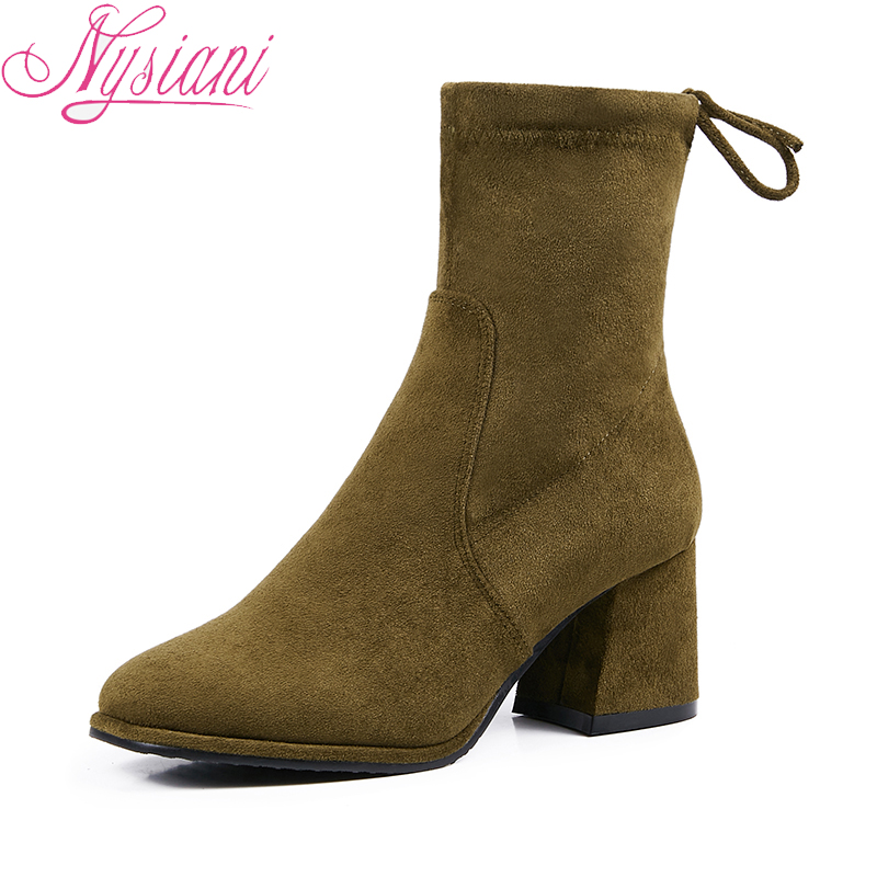 2019 Back Lace Up Med Heels Women Short Boots Brand Designer Round Toe Spring Fashion Office