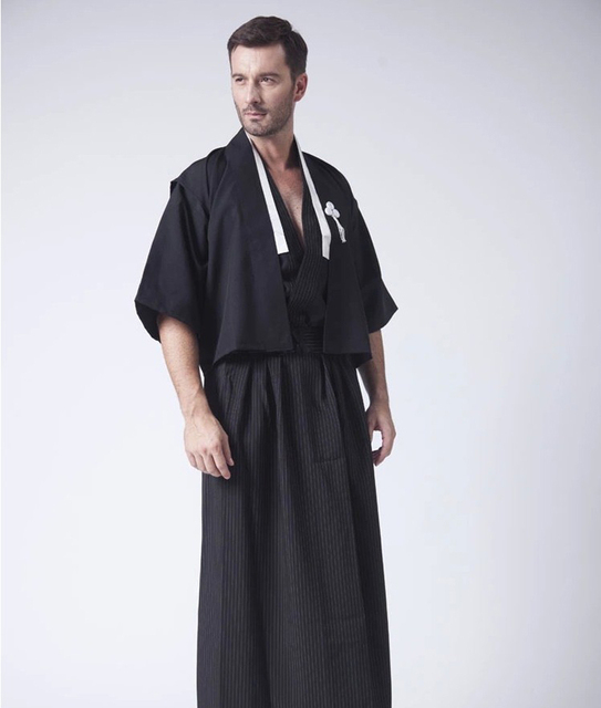 a2b37dcff Black Vintage Japanese Men Kimono Haori Traditional Male Warrior Yukata  Halloween Costume Performance Clothing One Size JK087
