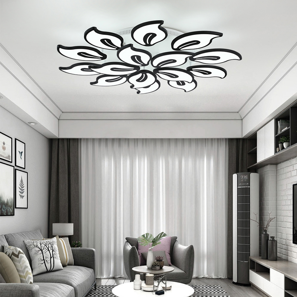 Light Filled Contemporary Living Rooms: White Acrylic Modern LED Chandelier For Living Room
