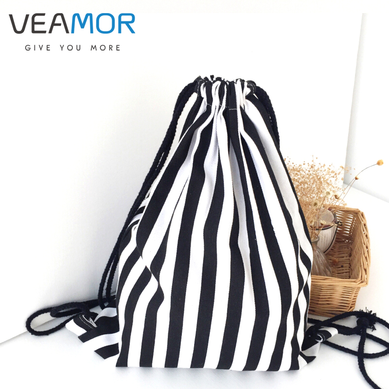 VEAMOR Väskor för flickor Kvinnor Handgjorda resor Kanfasskor Väskor Röd svart vit randig förvaringsväska WB291
