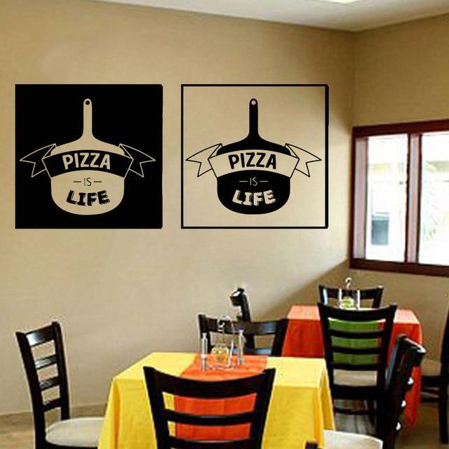 Pizzeria Wall Sticker Vinyl Pizza Is Life Restaurant Dining Room Decals  Kitchen Interior Design Murals Home