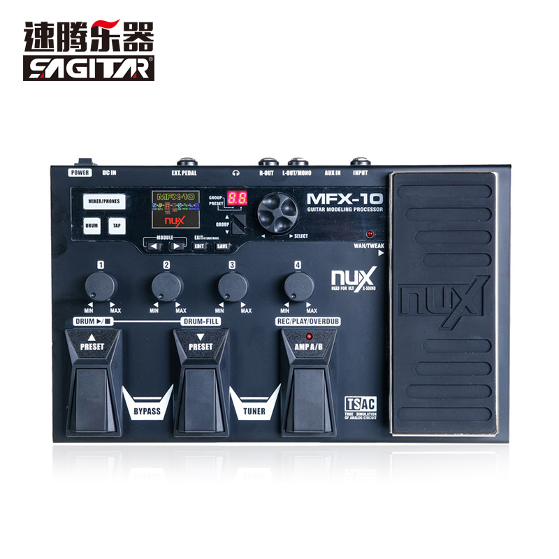 NUX MFX-10 Multi-Effects Processor Guitar Pedal, 55 Effect types, AUX-in, LCD DisplayDrum Recorder 55 Effect 72 Preset nux mg 20 electric guitar multi effects pedal guitarra modeling processor with drum machine eu plug