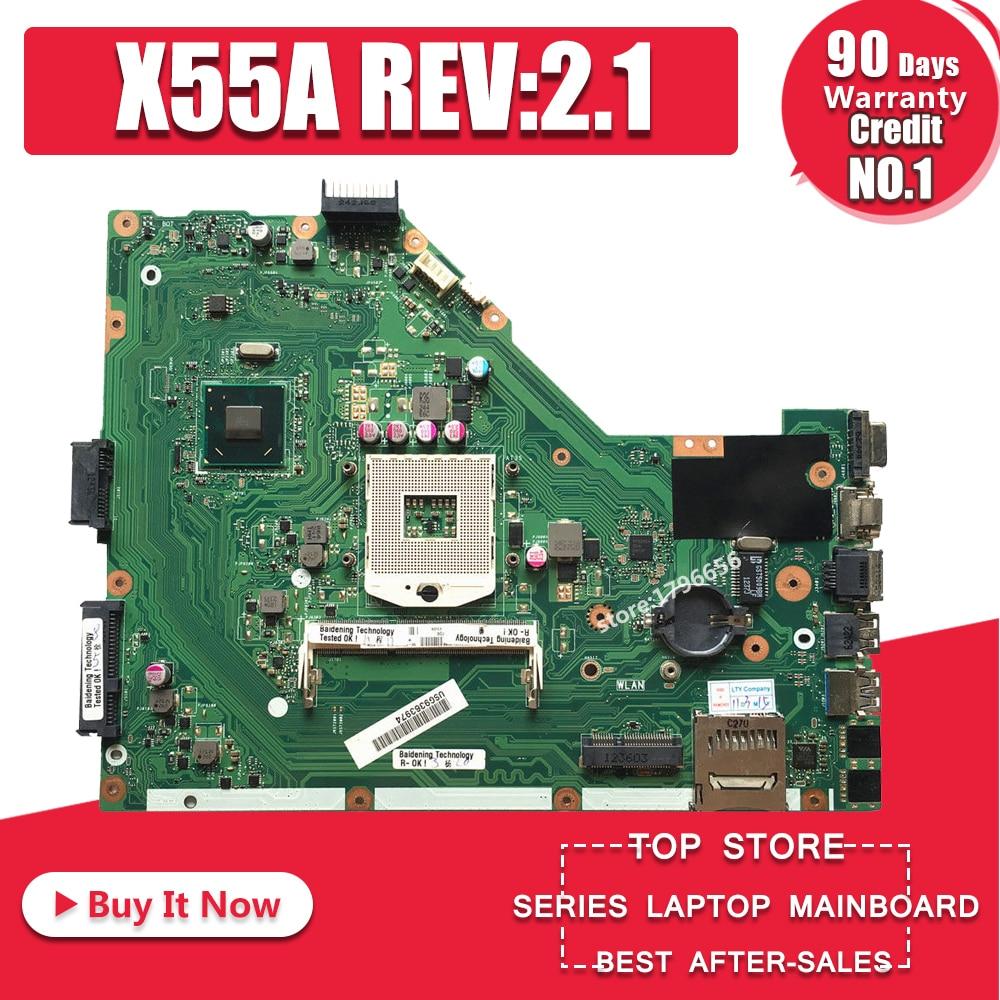 X55A placa base REV: 2,1/2,2 HM70 DDR3 para ASUS X55A placa base de computadora portátil X55A placa base X55A placa base de prueba 100% OK