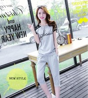 New Style Girl T Shirt Seven Points Trousers Two Piece Suit Cotton Blend Relaxed Soft Motion