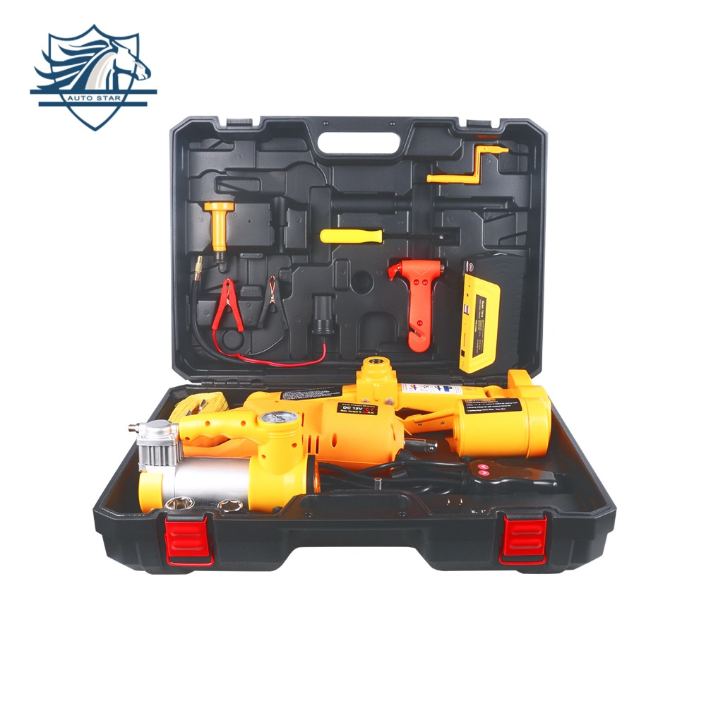 3T Electric Car Jack Lifting Tire Inflator Pump Electric Wrench Impact Socket Car Jump Starter Emergency Power