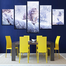 Framework Wall HD Printed Painting Art Modular Poster Modern Canvas 5 Panel Snowscape Leopard Living Room Home Decor Pictures