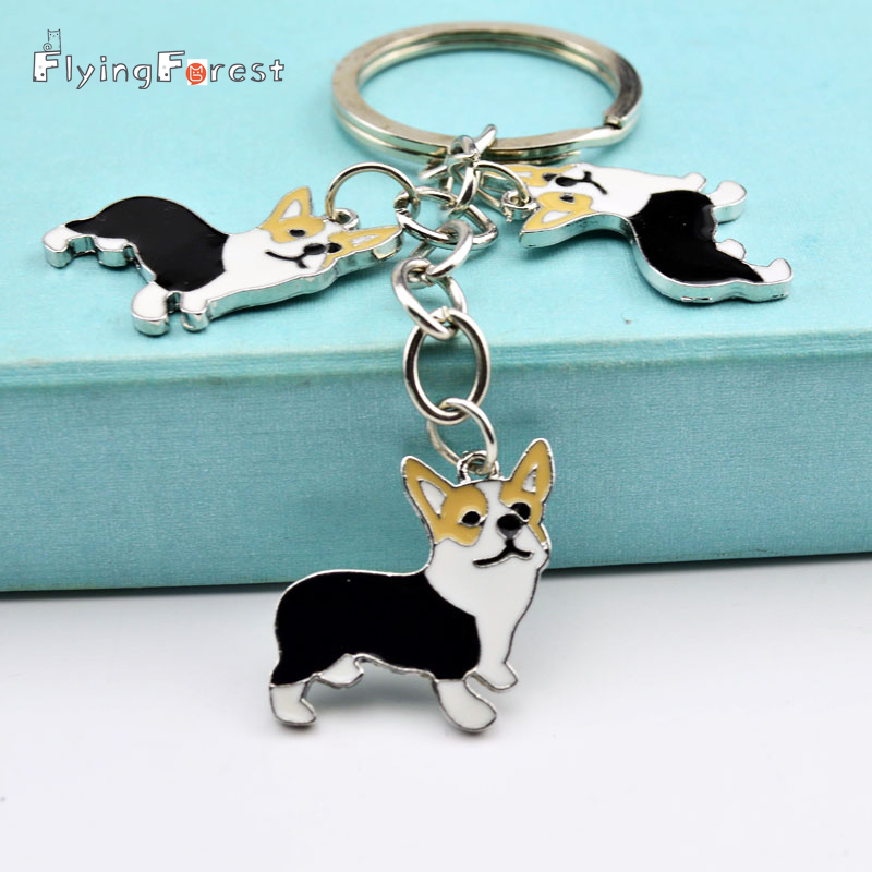 Metal PET Key Chain welsh Corgi Dog Key Ring Charm Pesanan Borong Lovely Keychain Car Keyring gift Women Jewelry Drop shipping