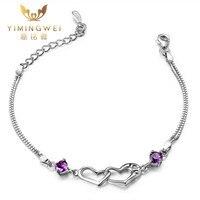 [Ymw]紫水晶925スターリングシルバーブレスレット&ブレスレット女