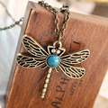 New Vintage Jewelry Retro Hollow Dragonfly Korean Long Paragraph Sweater Chain Pendant Necklace For Women Jewelry