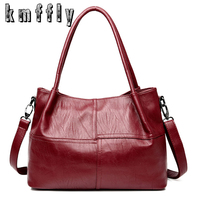 KMFFLY High Quality PU Leather Women Bag Casual Tote Shoulder Bags 2017 Sac New Fashion Luxury