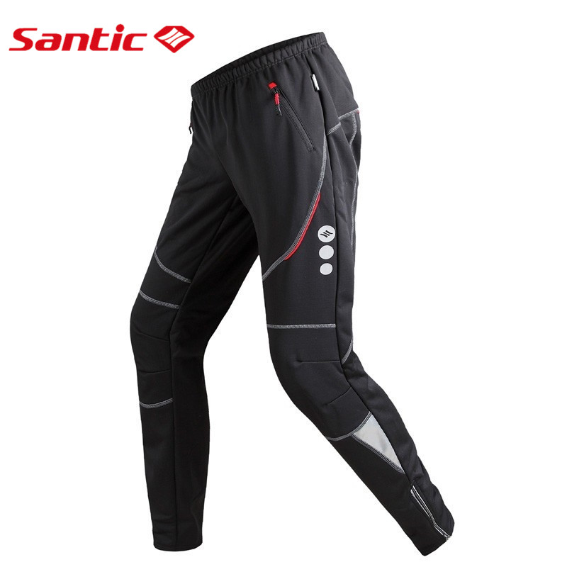 Santic Men Winter Windproof Outdoor Cycling Long Pants Fleece Thermal Sportswear Men MTB Bike Bicycle Sport Breathable Pants santic men winter cycling pants thermal fleece windproof mtb road bike pants 4d padded bicycle long pants cycling clothes