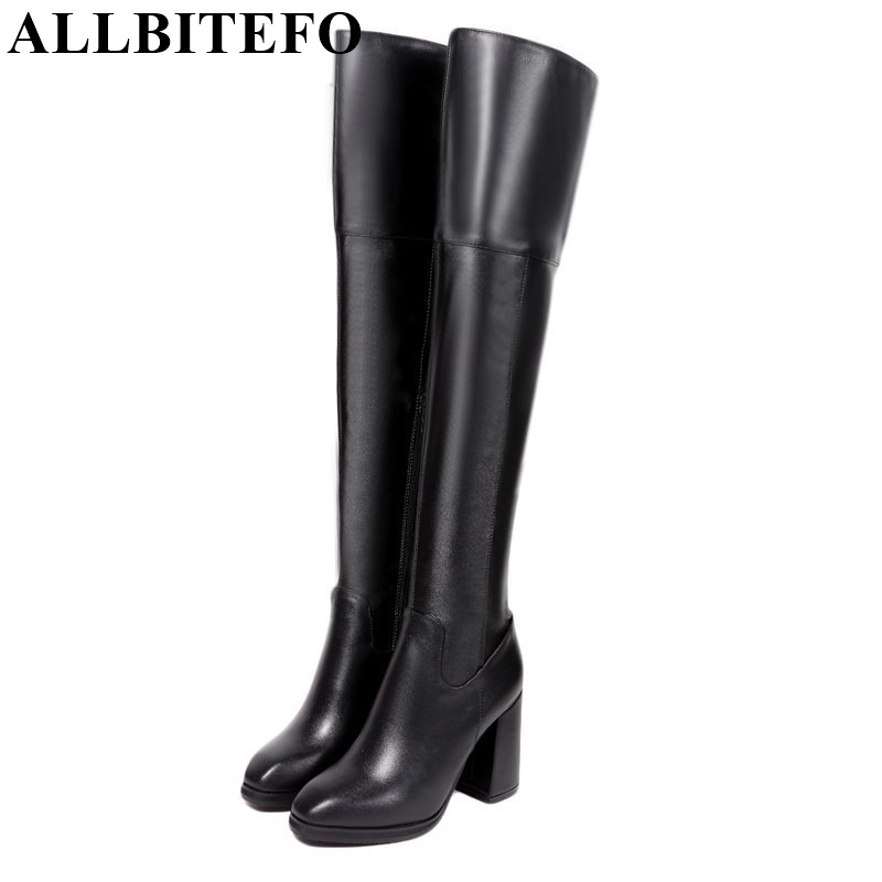 ALLBITEFO new arrive winter snow long boots genuine leather+pu square toe high heel platform women motorcycle boots size:33-42 allbitefo golden zip decorate fashion spring winter snow shoes genuine leather pu women boots casual knee high boots size 33 43