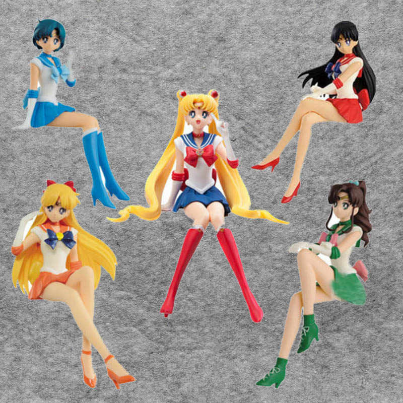 Anime 13 cm Estatueta Quebrar o Tempo Figura Sailor Moon Sailor Mars Mercury Júpiter Venus Action Figure Boneca Brinquedos