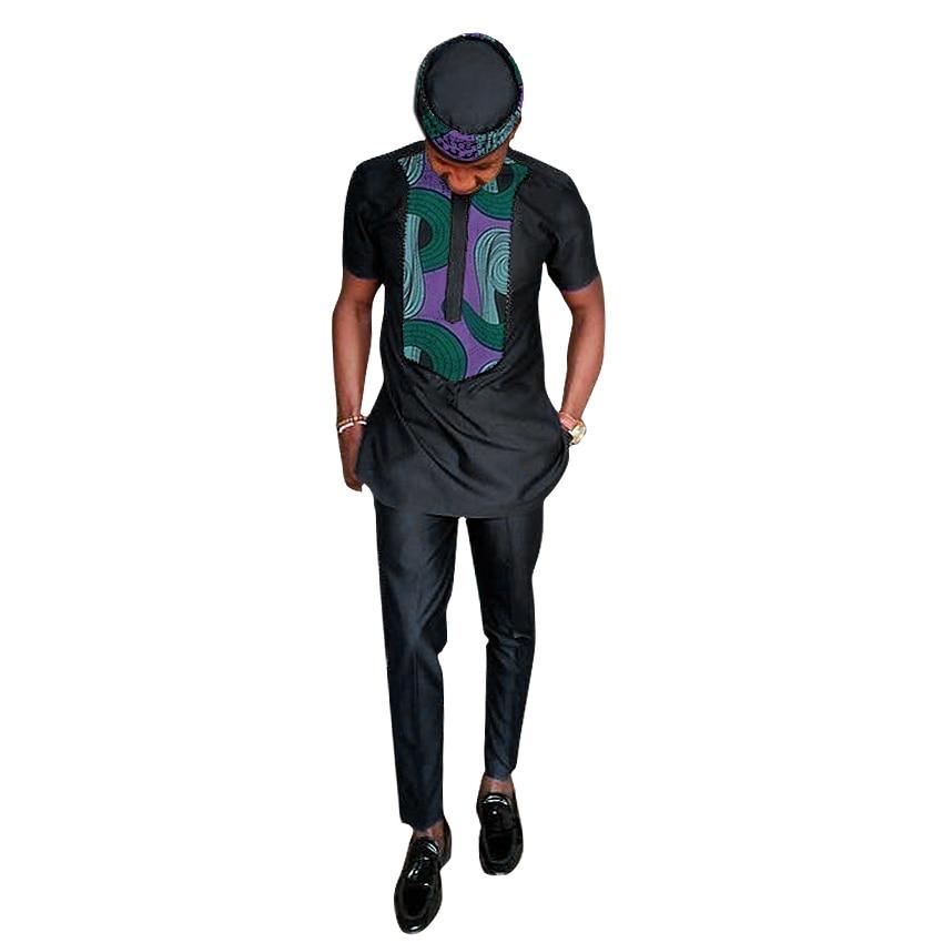 Ropa africana dashiki hombres camiseta + pantalón de manga larga - Ropa nacional