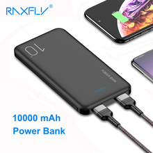 RAXFLY Power bank 10000mAh Ultra Thin Portable Bank For Xiaomi CC9 External Battery Dual USB Charging Poverbank