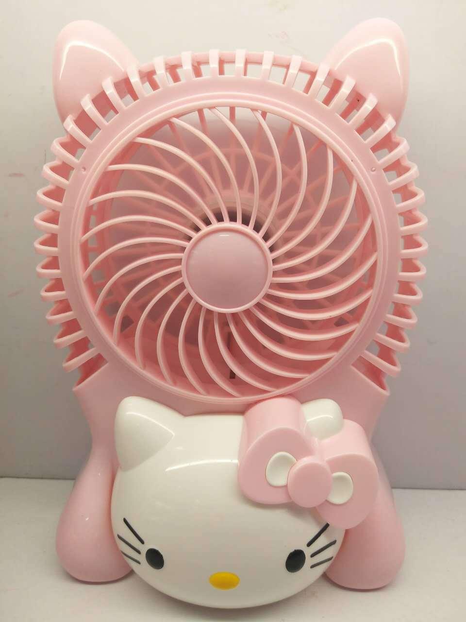 New Design Hello Kitty USB Cartoon Air Cooling Fan Rechargeable Creative 2 Gears Breeze Mini Portable Rotary Cooling Fan new mini cooling rechargeable fan