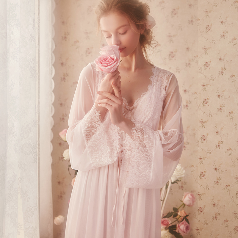 Free Shipping 2019 New Spring Women's Pink and White Robe Lace Sleepwear Vintage Princess Nightdress Thin Lace Nightgown
