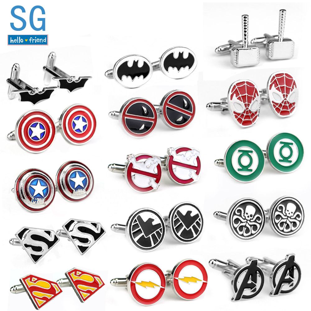 SG Film Avengers A Letter Logo Cufflinks Superhero Thor Star Wars Flash Deadpool Batman Tie Clips For Men Party Shirt Jewelry(China)