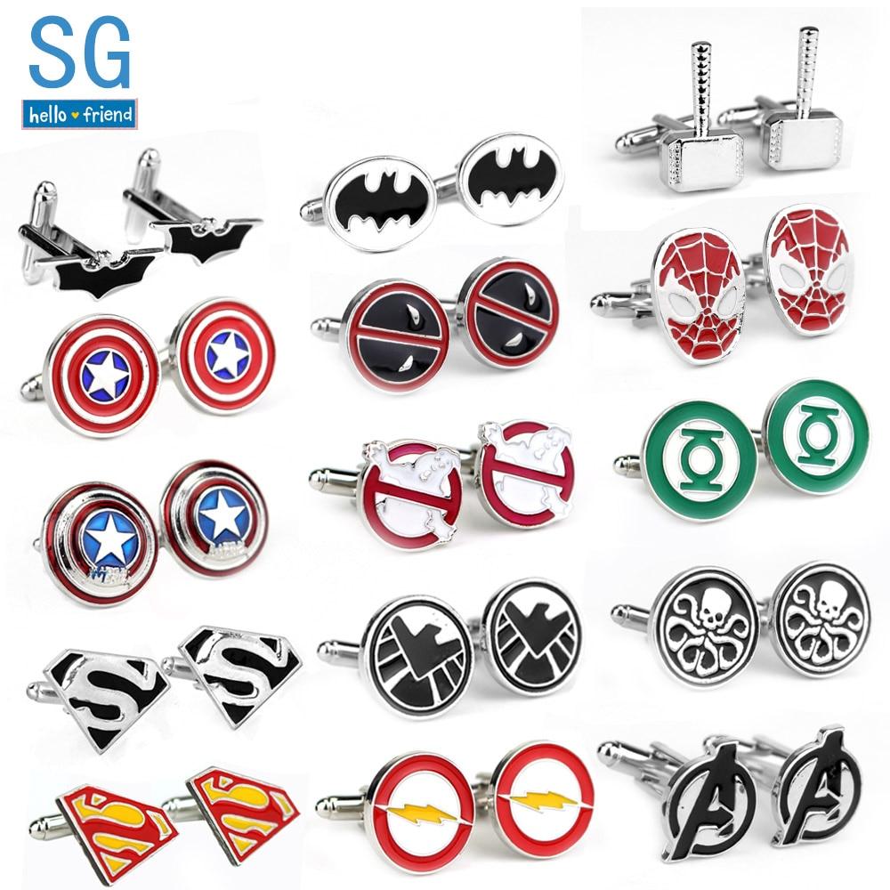 SG Film Avengers A Letter Logo Cufflinks Superhero Thor Star Wars Flash Deadpool Batman Tie Clips For Men Party Shirt Jewelry