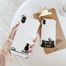 3D Relief Cat Phone Case For iPhone 6s 7 XS Max Simple Black White Silicon Cover 6 S Cases 8 Plus X XR