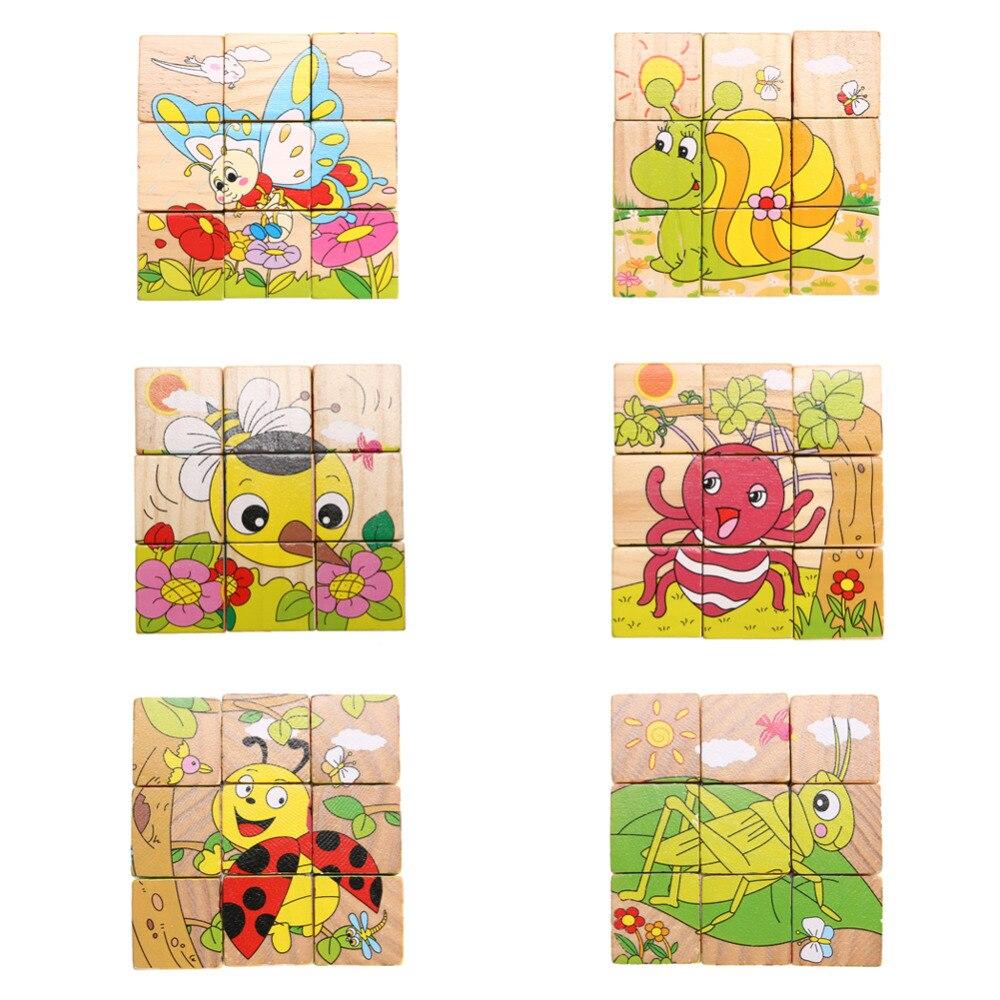 fd582d64f Dzieci Dzieci Drewniane Zwierząt Zabawki 6 boczne Boże Narodzenie Prezent  urodzinowy Piękne Zwierzęta Puzzle Zabawki Edukacyjne Dla Dzieci Zabawki  Cartoon ...