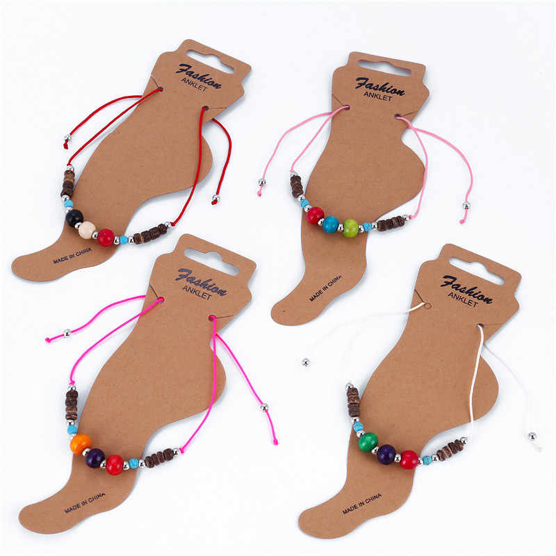 Fashion Statement Colorful Beaded Rope Anklets for Women Pendant Charms Rope Chain Beach Summer Foot Ankle Bracelet Jewelry