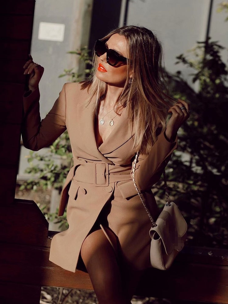 Fashion Khaki Dress Style Blazer Coat Women Double Breasted Notched Suit Casual Streetwear Ladies Top Blazers Feminino