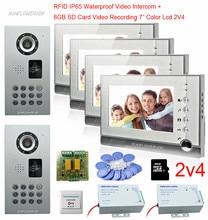 Для 2 Дверные рамы RFID дома, домофон 4 Мониторы 8 ГБ SD карты видео Запись 7 дюймов видеодомофон с видеокамерой IP65 Водонепроницаемый
