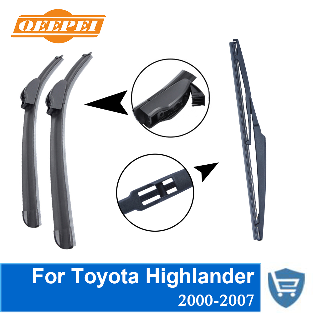 Qeepei front and rear wiper blade no arm for toyota highlander 2000 2007 high quality