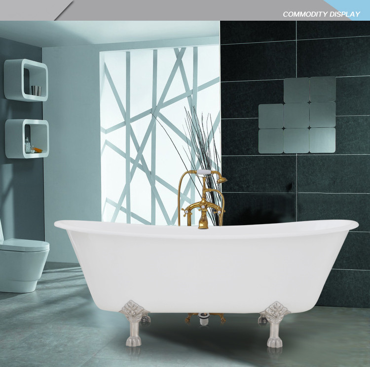 Free Shipping Luxury Bathtub Use For Indoor Cast Iron Double Slipper Tubs  1008 3(