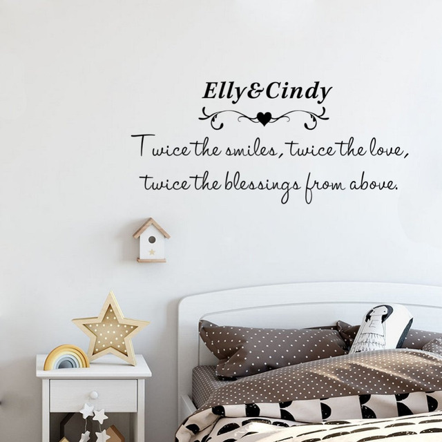 Charming Custom Two Baby Names Wall Stickers Love Creative Wall Decals For Kids  Bedroom Decor