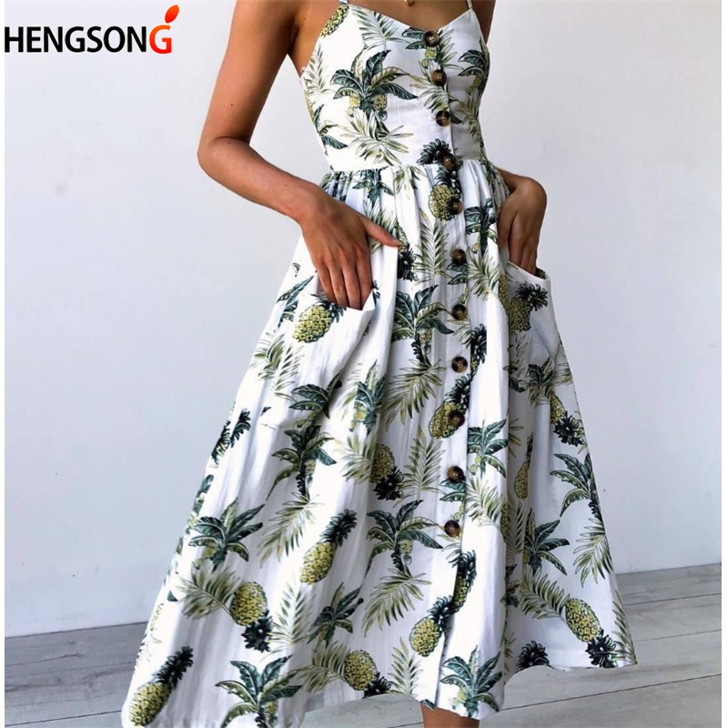 Floral Printed Dress Women Vestidos Back Stretch Boho Sunflower Dress Fashion Female Party Beach Dress With Pocket Sarafan