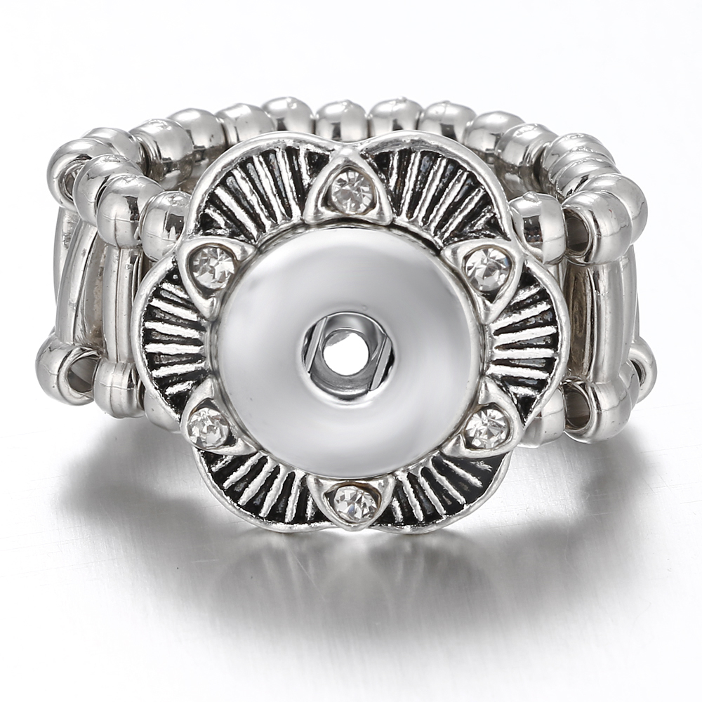 10pcs Vintage DIY flower Adjustable silver plated 12mm Snap Button Rings Jewelry For Snap Button Charms image