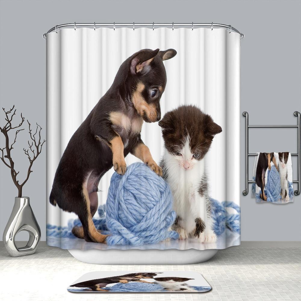 Image 4 - VOZRO Waterproof 3d Lovelycat Decorative Bathroom Shower Curtain Bape Cortina Rideau De Douche Wedding Decoration Douchegordijn-in Shower Curtains from Home & Garden